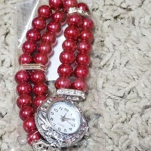 Ladies red pearl watch~NEW